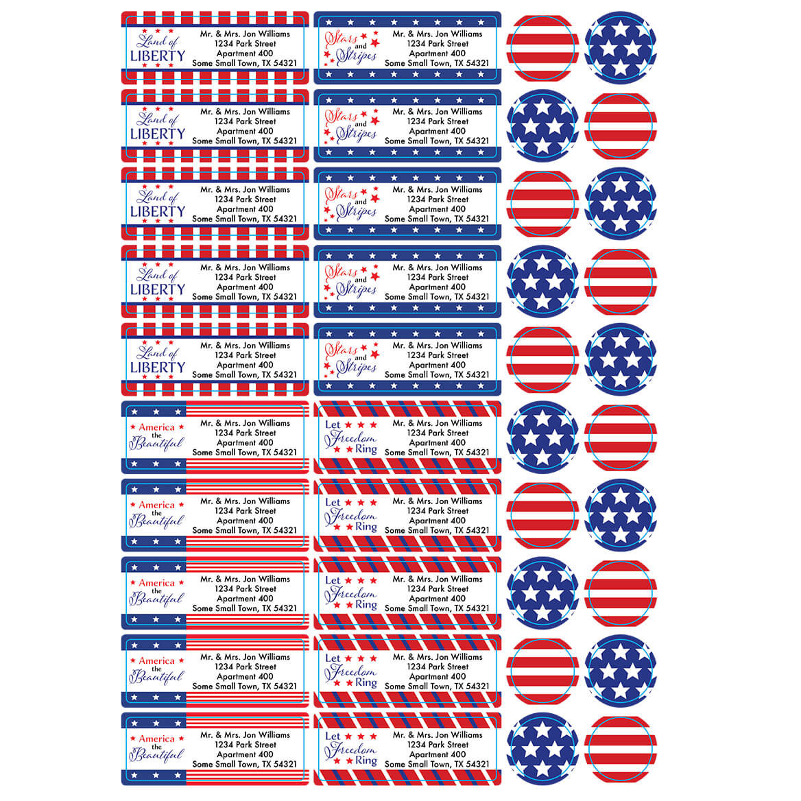 Personalized Stars and Stripes Labels and Seals, Set of 60-366171