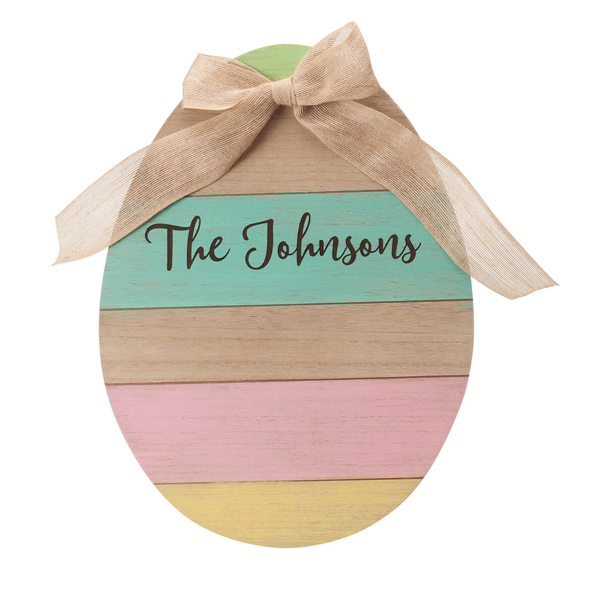 Personalized Wood Egg Sign with Burlap Bow-366293