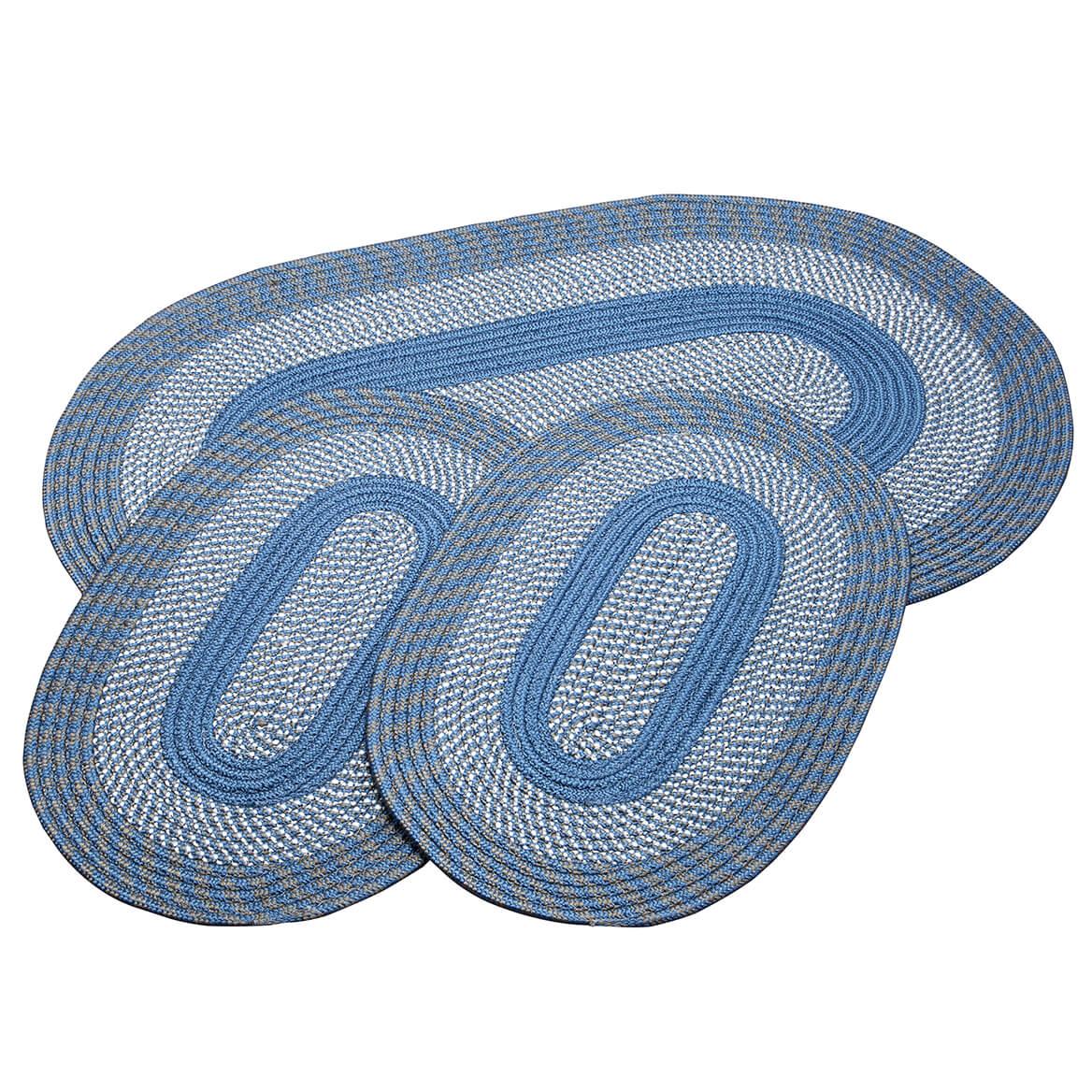 Slate Blue 3-Piece Two-Tone Braided Rug Set by OakRidge™-367535