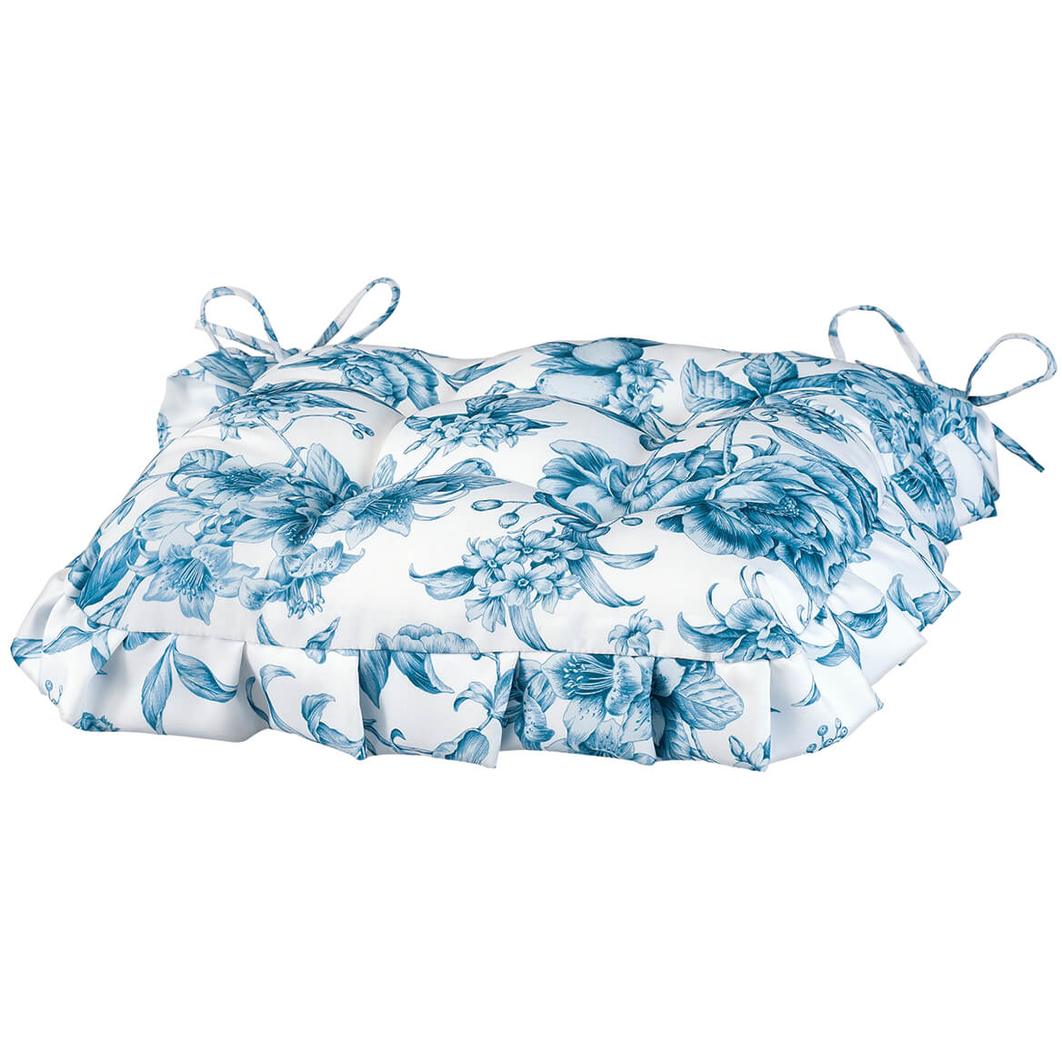 William Roberts Blue Floral Toile Chair Pad-367562