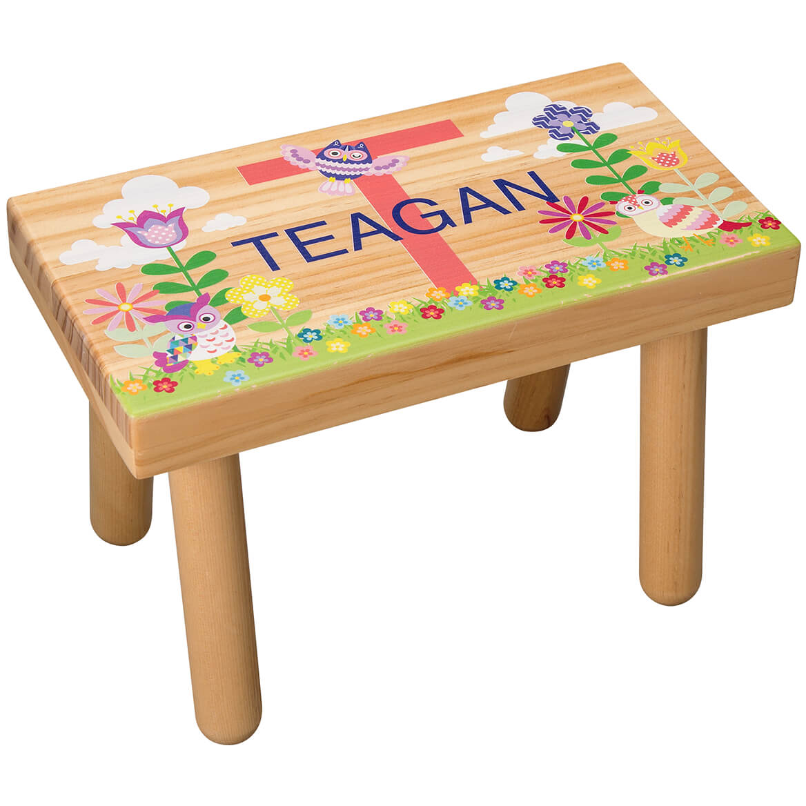 Personalized Flowers & Owls Children's Step Stool-368057