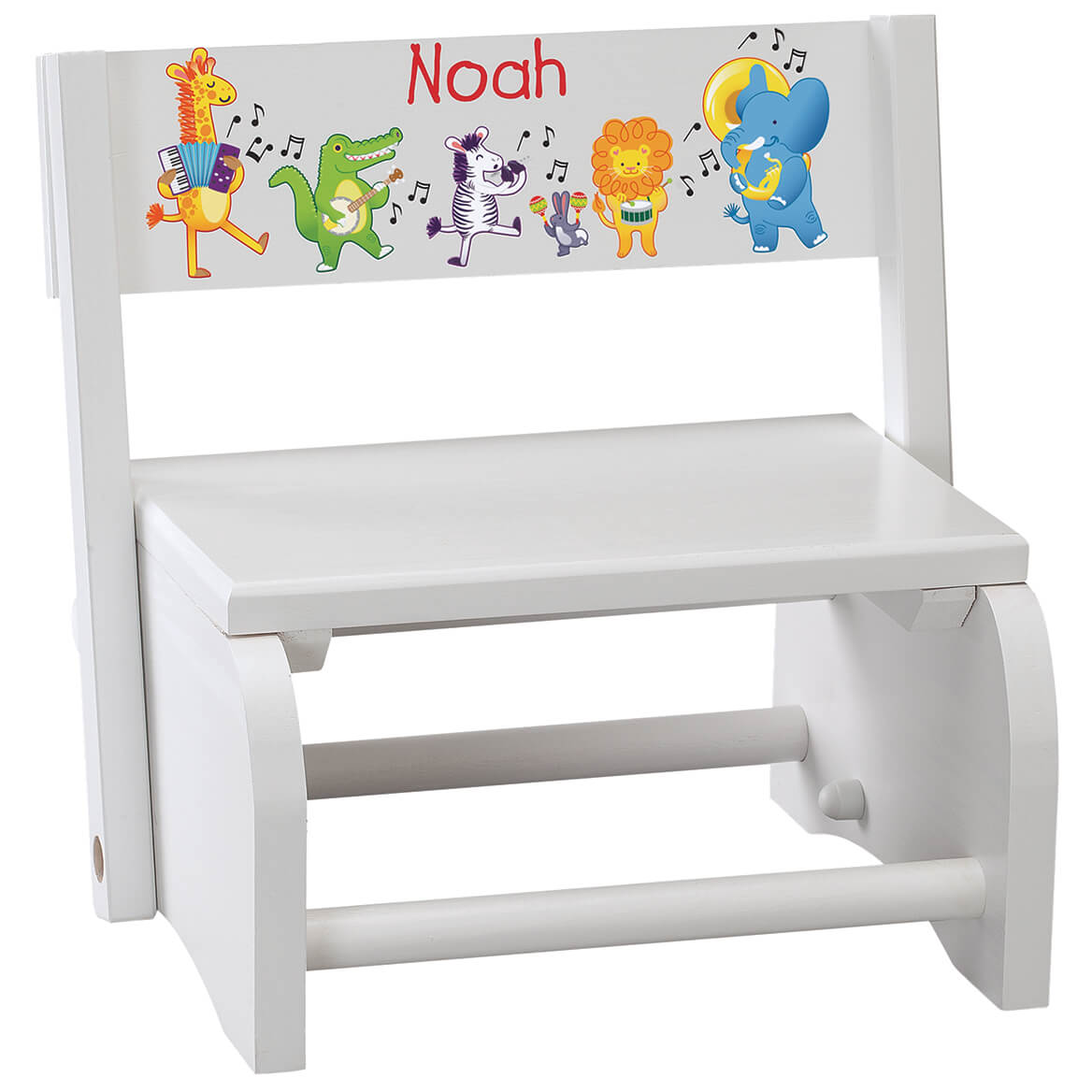 Personalized Children's White Musical Animals Step Stool-368490