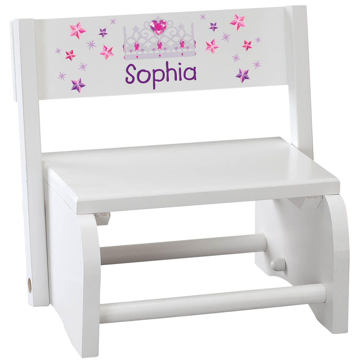 Personalized Children's White Princess Step Stool-368491