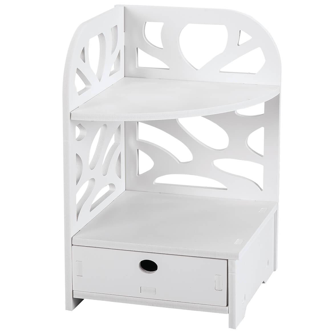 Corner Countertop Vanity Organizer White-368686