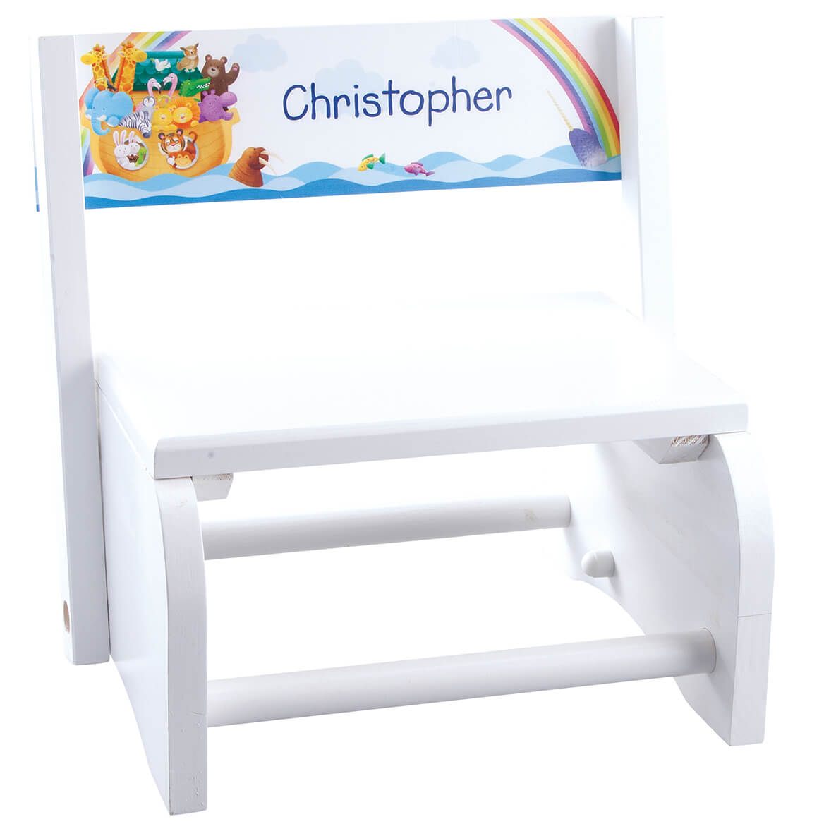 Personalized White Noah's Ark Step Stool-369045