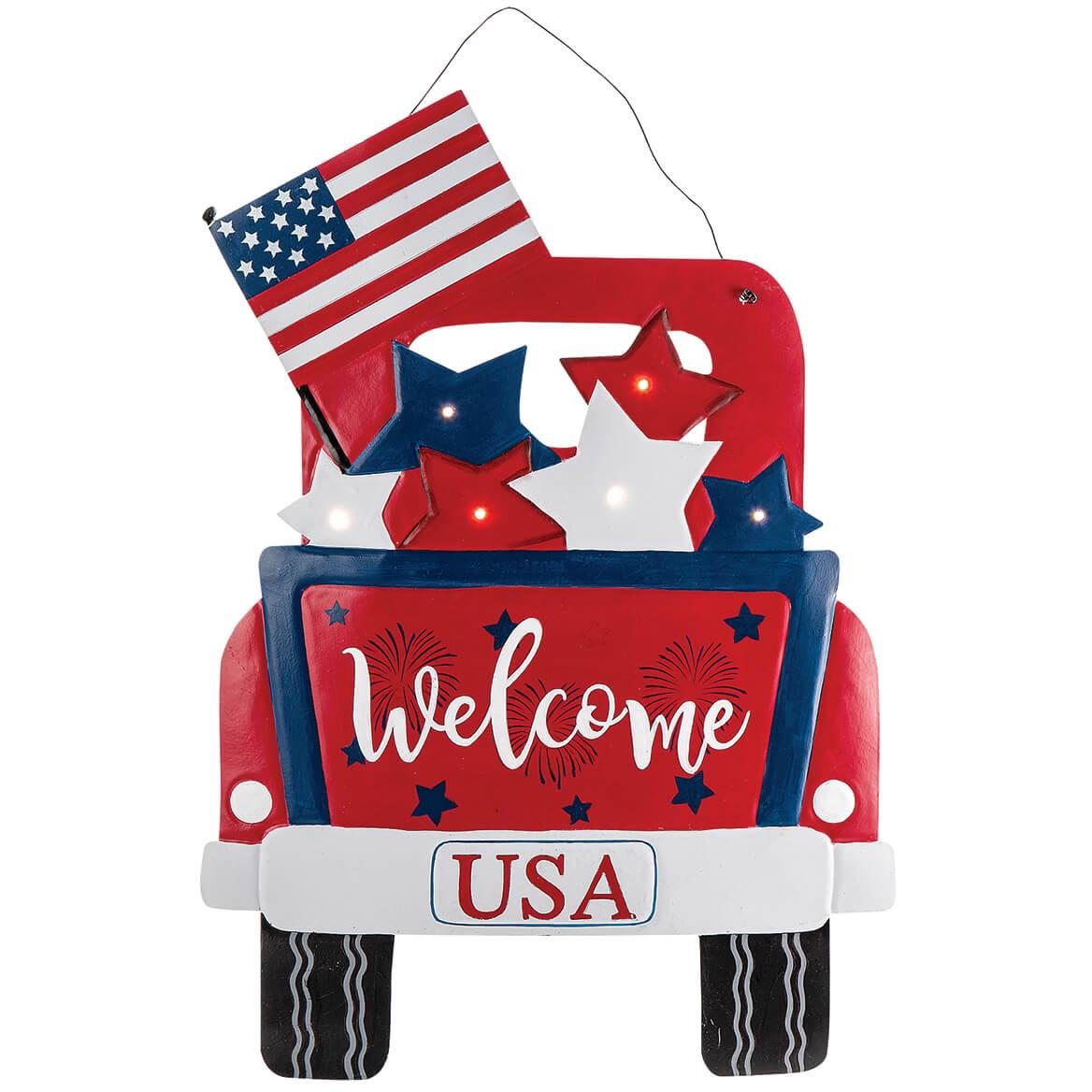 Patriotic Truck Lighted Door Hanger by Fox River™ Creations-369399