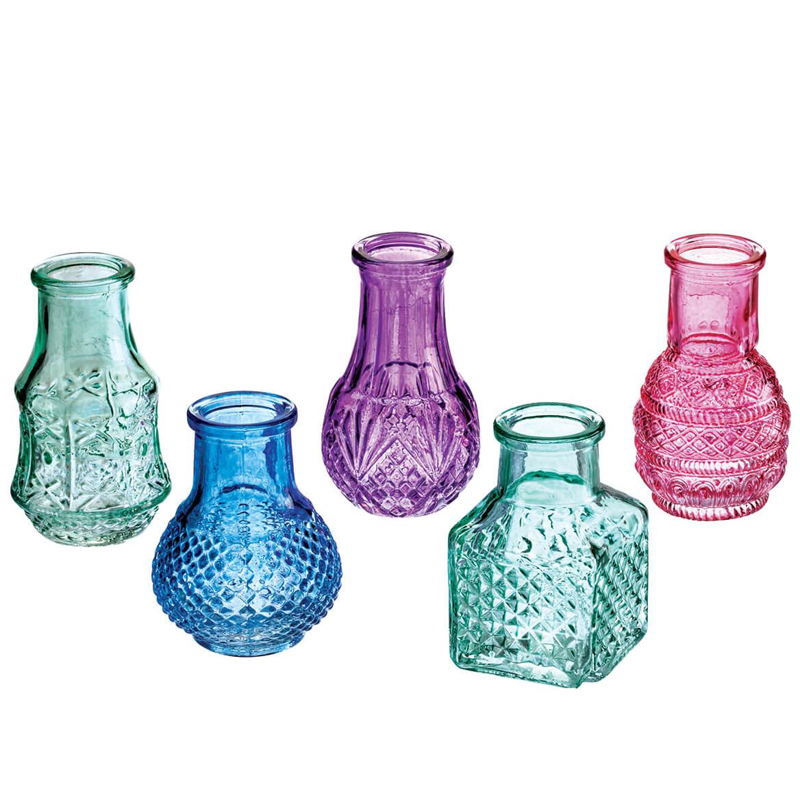 Mini Colored Glass Vases, Set of 5-370628