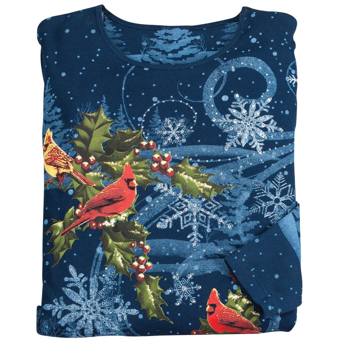 Winter's Evening Cardinal 3/4 Sleeve Top-370670