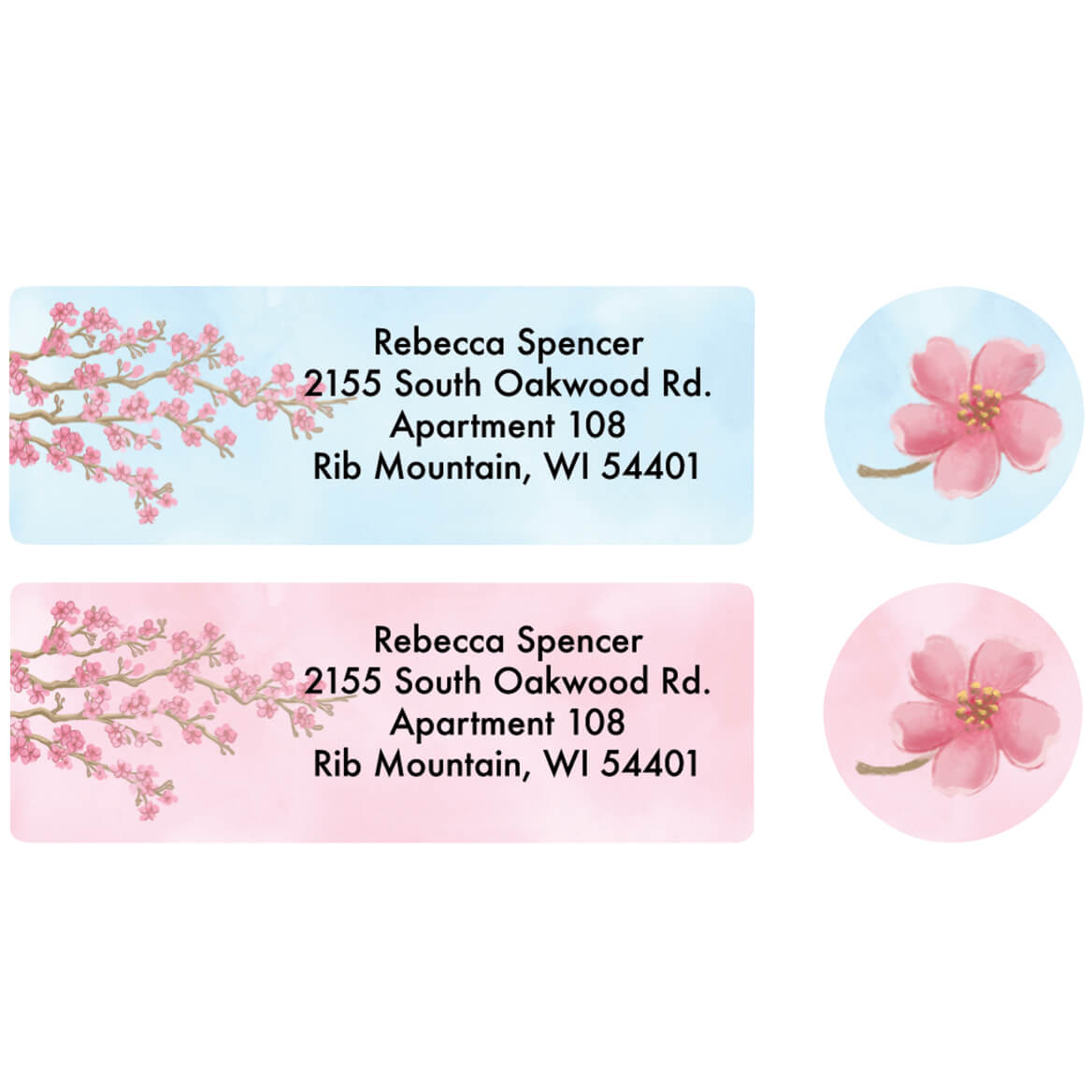 Personalized Blossoms Label and Seal Set-370822