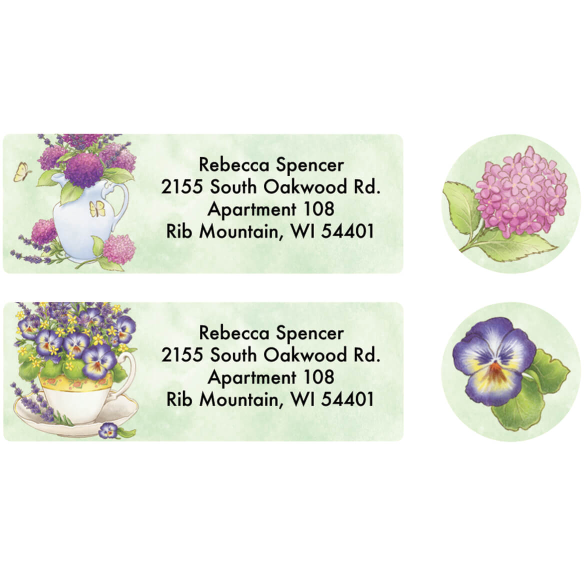 Personalized Lavender Floral Label and Seal set of 20-370831