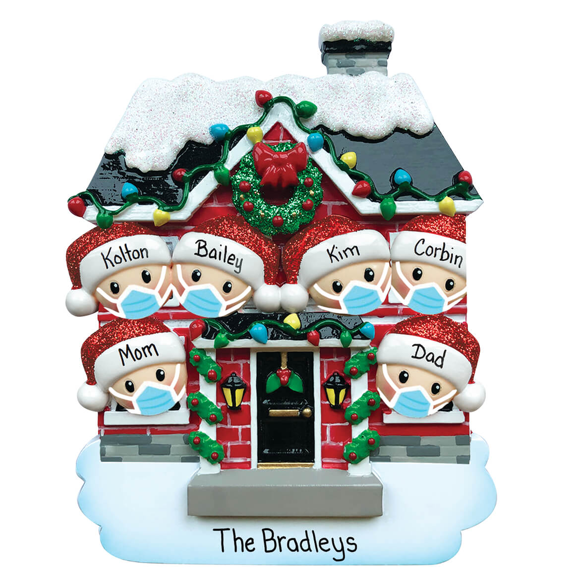 Personalized Family in Masks Ornament-371154