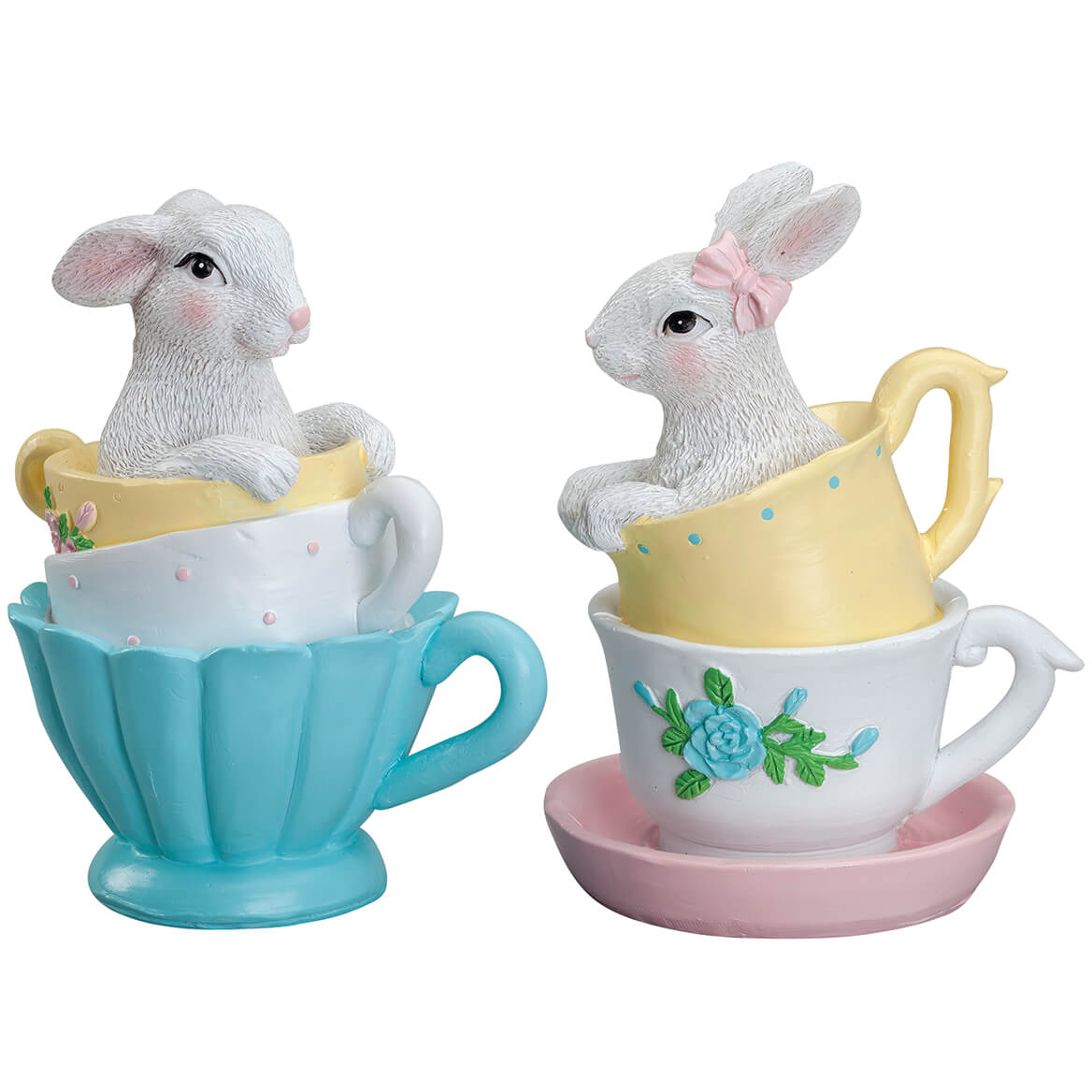 Resin Bunnies in Teacups, Set of 2 by Holiday Peak™-371181
