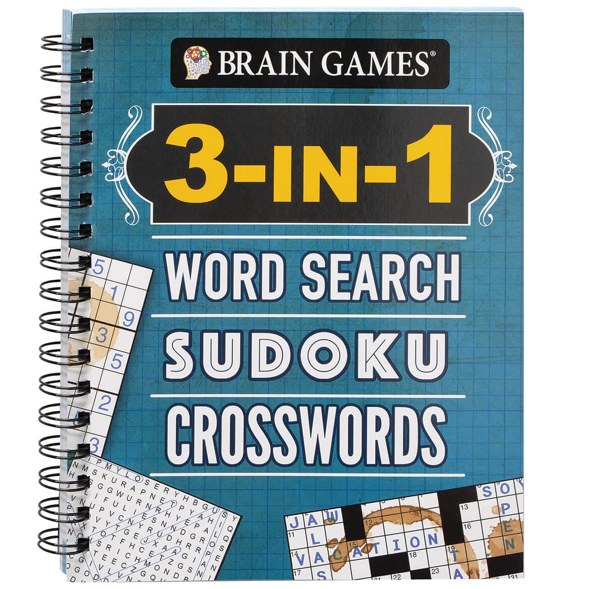 Brain Games® 3-in-1 Word Search, Sudoku, Crosswords Book-371344