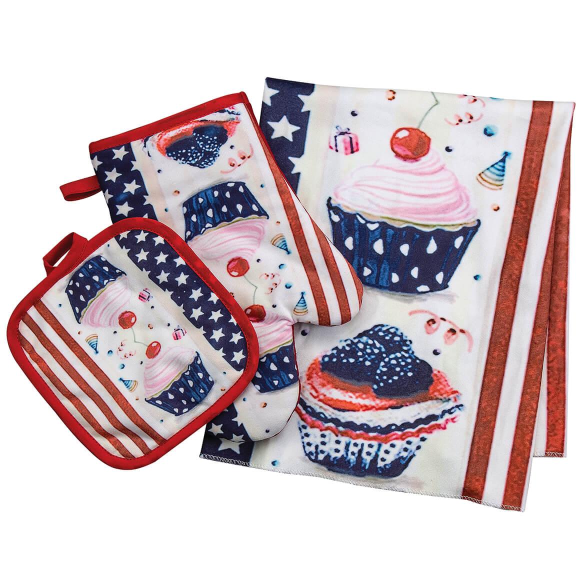 Patriotic Cupcake Kitchen Towel, Oven Mitt & Pot Holder Set-371628