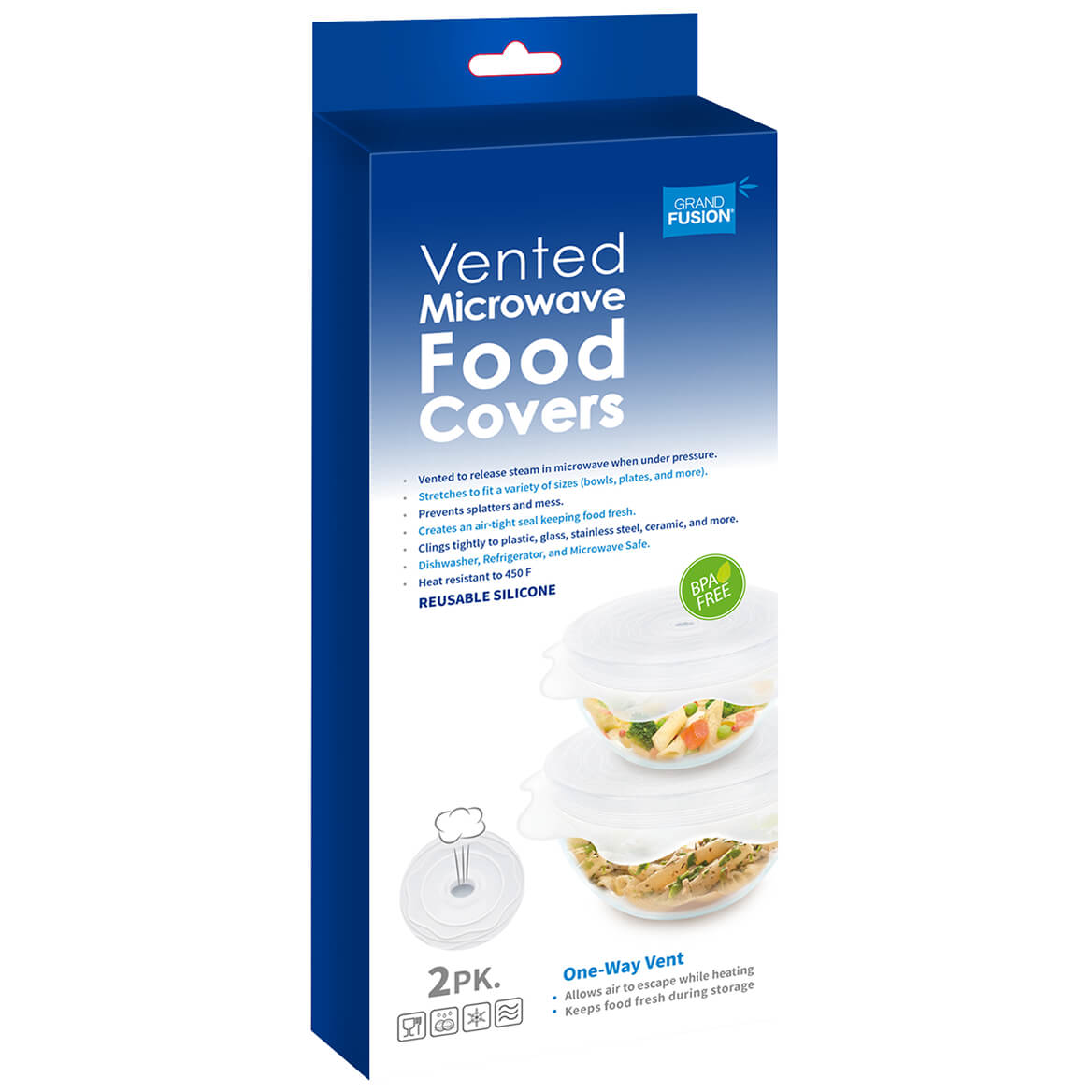 Silicone Vented Microwave Food Covers, Set of 2-371633