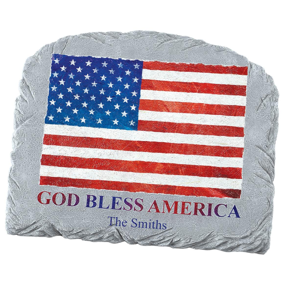 Personalized God Bless America Flag Garden Stone-371658