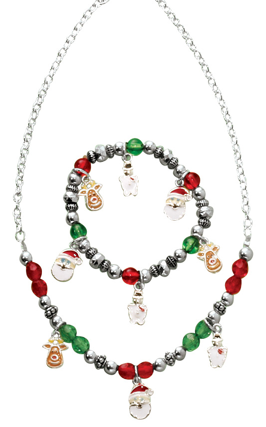 childs christmas charm bracelet and necklace - Lighted Christmas Necklace