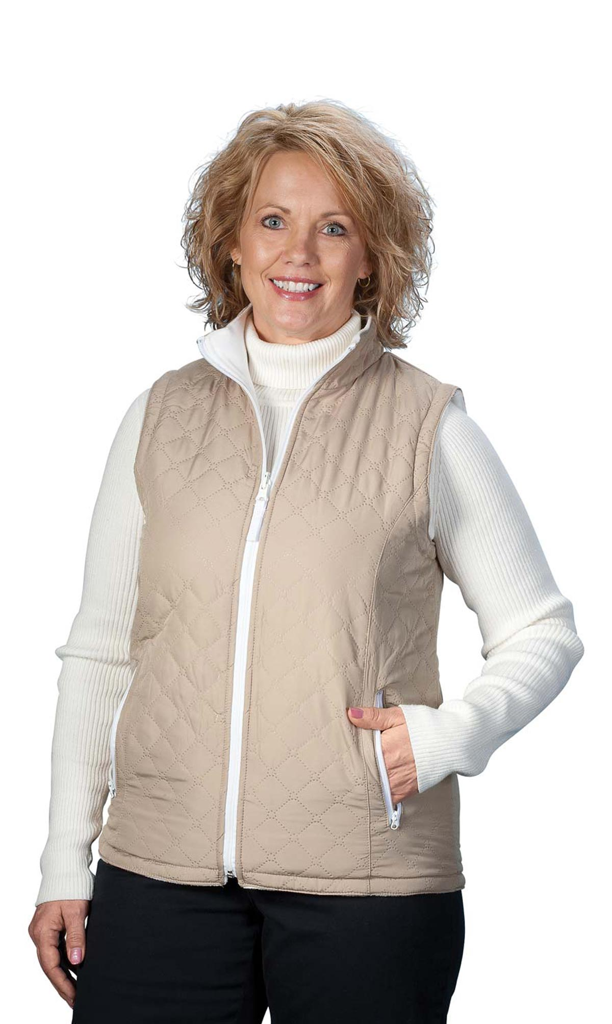 Miles Kimball Miles Kimball Reversible Quilted Zip Front Vest