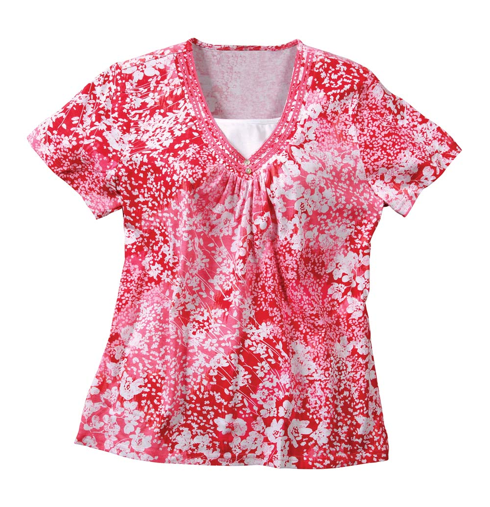 Short Sleeve Floral Shirts, Small, Coral
