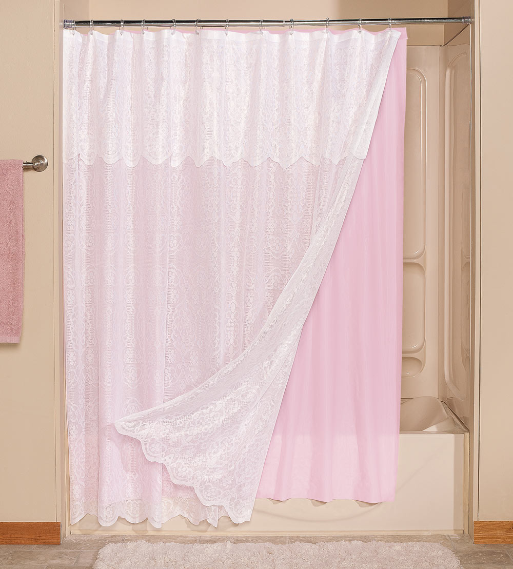 Lace Shower Curtain With Attached Valance And Colored