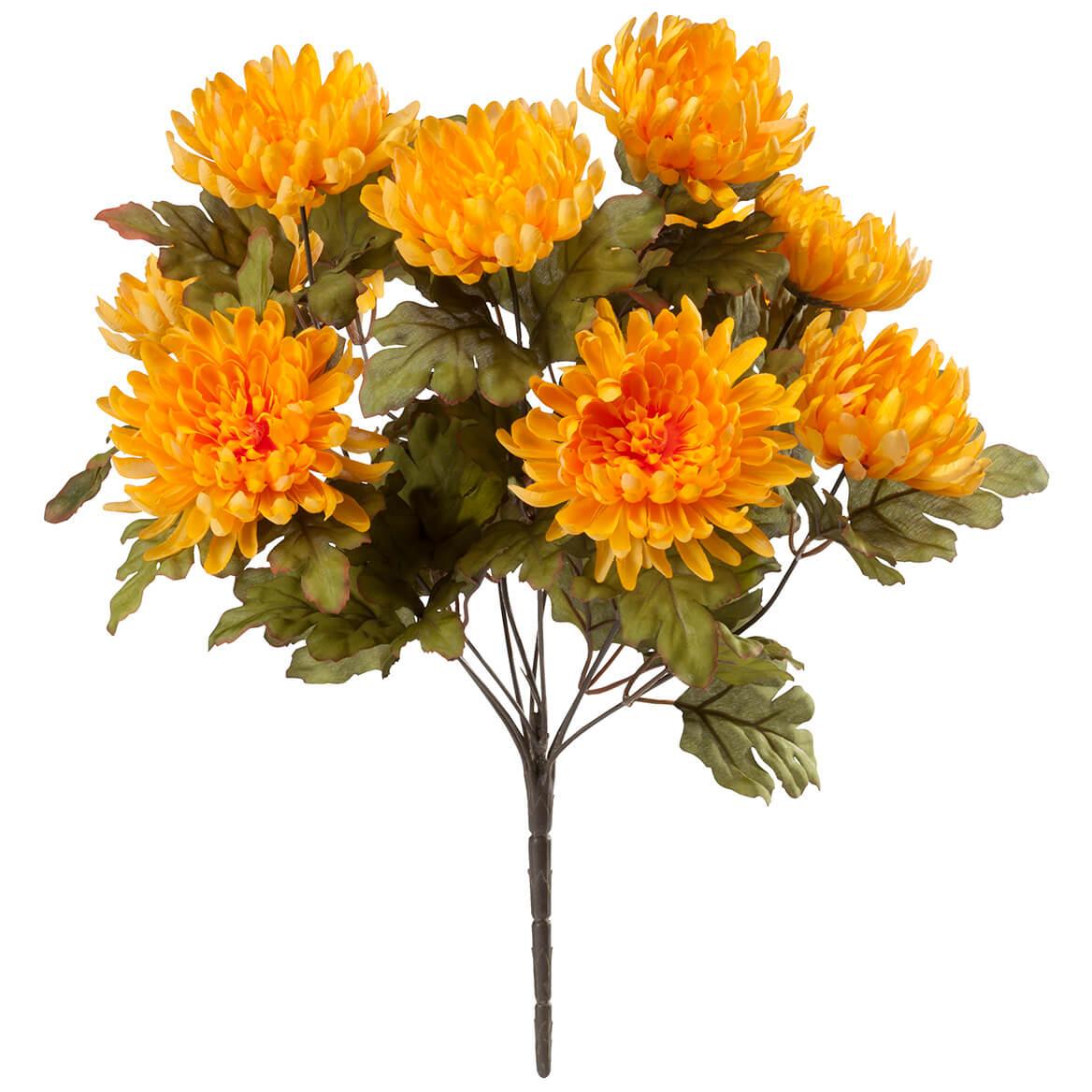 Yellow Artificial Mum Bush by OakRidge™ Silk Floral Décor