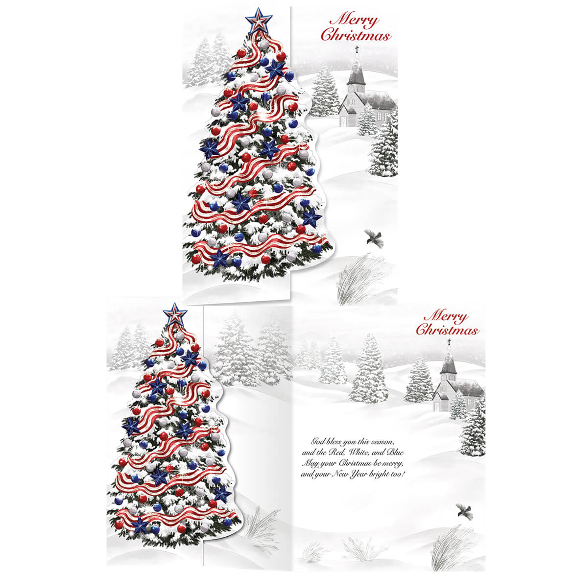 Patriotic Christmas.Details About Patriotic Christmas Cards With Envelopes Red White And Blue Snow Covered Tree