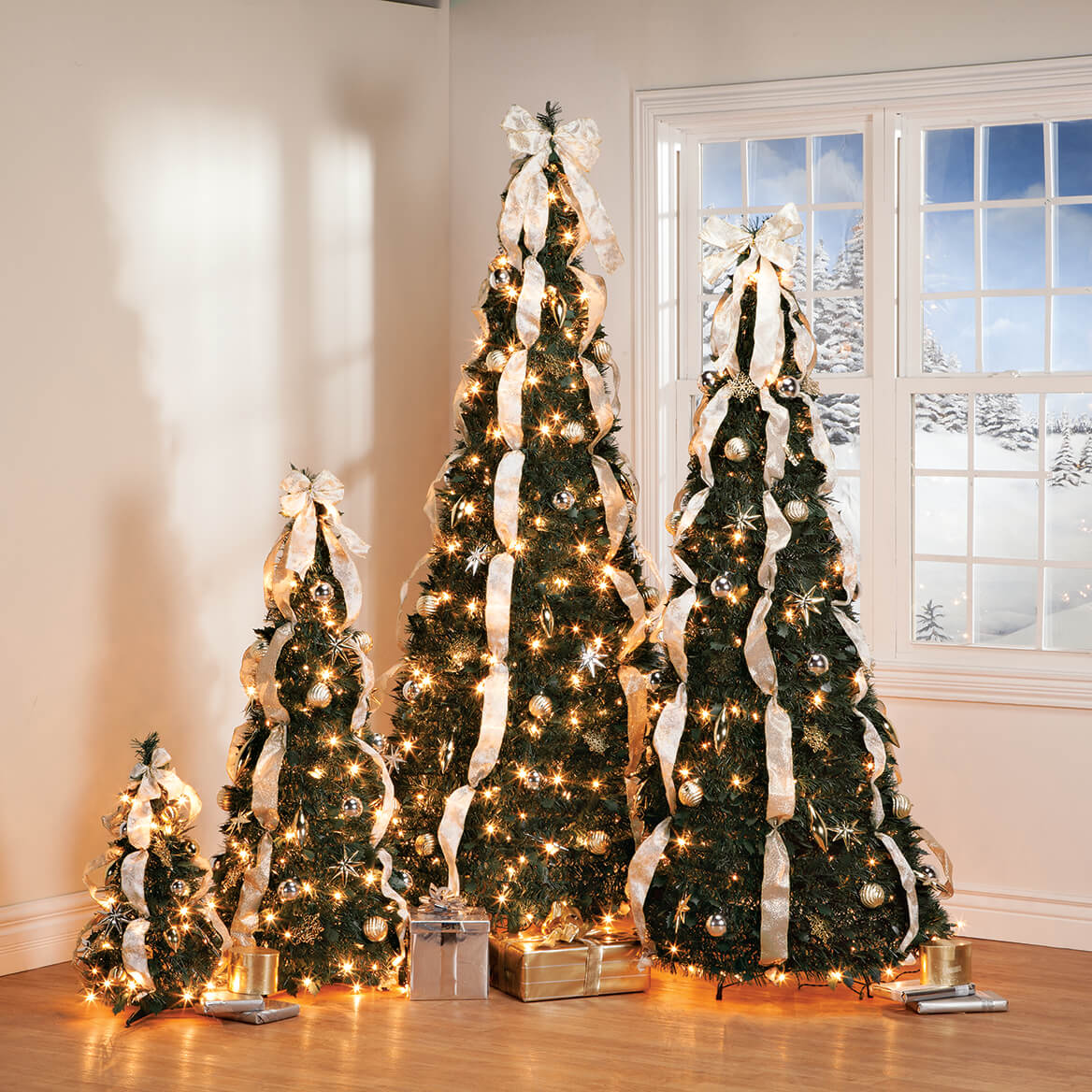 6' Silver & Gold Pull-Up Christmas Tree by Holiday Peak, Pre-Lit and Fully 842536178750 | eBay