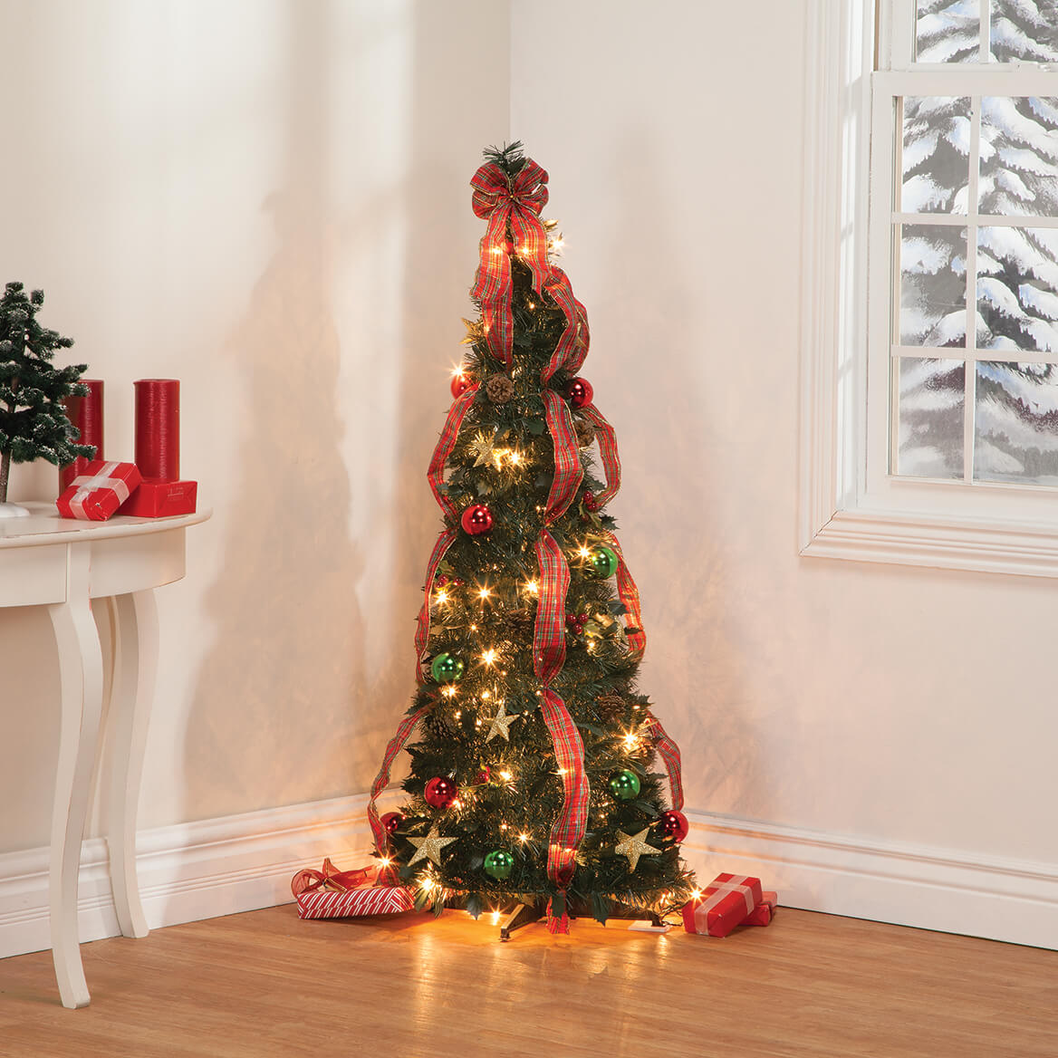 Holiday Peak Pull-Up Christmas Tree, Pre-Lit and Fully Decorated, 4', 4 Foot, 4 840853177791 | eBay